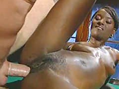 A bald white guy fucks a Latina and a black babe in this threesome