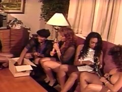Four black lesbos break out the sex toys for some group fun