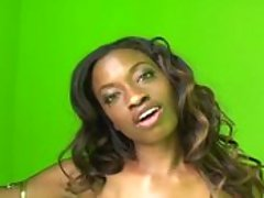 An ebony babe in silver lingerie is fucked and gaped