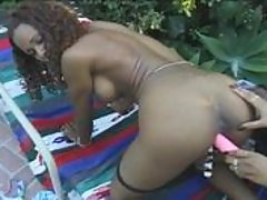Three black lesbians do the nasty by their pool