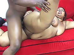 Chubby ebony babe loves to suck and fuck
