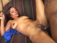 Slutty babe having her black pussy hammered