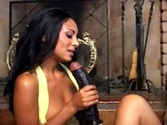 Ebony dykes going to town with massive black dildos