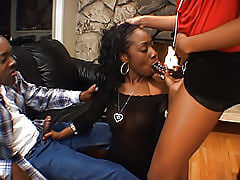 Beauty Dior has her shaved black pussy filled up with a big black cock and Sydney Capri's big black dildo too