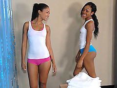 2 hot ebony teens in their underwear fuck eachother and a student spying on them hot ebony gf teen sex