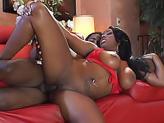 Black busty Candace Von hypnotizes us with her big black boobs when she's getting fucked in her shaved pussy