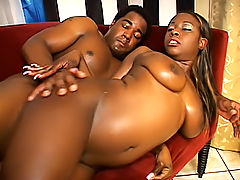 Curvy babe's black pussy is filled up with his sticky sperm