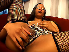 Her wet ebony snatch milks every drop of his cum inside her