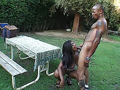Pierced titted black hottie milks a thick cock with her tight snatch so she can drink his hot white cum