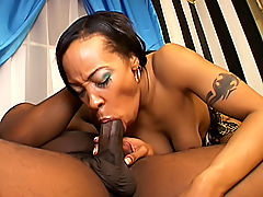 Nasty black ghetto girl in fishnets rides his stiff schlong