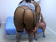 Ebony BBW eats her girlfriend out and gets her clit licked