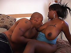 Big black ass gets pumped full of cock as this ebony goddess milks his chocolate fuck stick dry