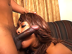 Curvy ebony chick is hungry for dick in her mouth and pussy